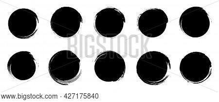 Set Of Grunge Round Shapes. Black Circle Brush Stroke. Paint Brush Stamp Collection Isolated On Whit