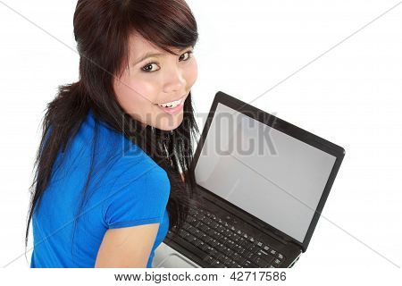 Top View Of A Woman Using A Laptop In Isolated Background