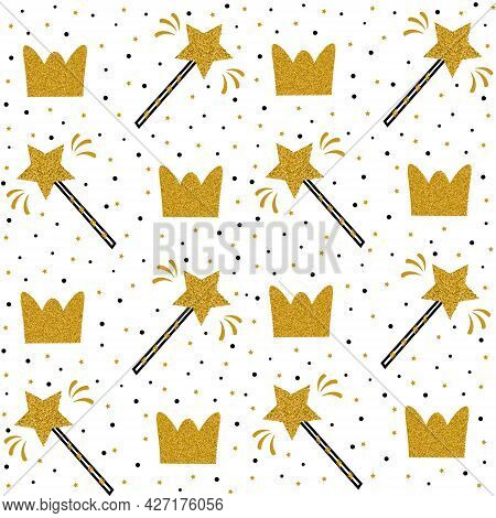 Magic Wands And Glittering Crowns. Fashion Seamless Pattern, Background. Template For Fabric, Prints