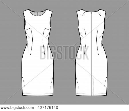 Dress Sheath Technical Fashion Illustration With Sleeveless, Fitted Body, Knee Length Pencil Skirt.