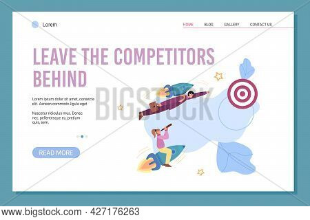Business People Fly On Rockets Compete On Start New Business Or Startup Project.