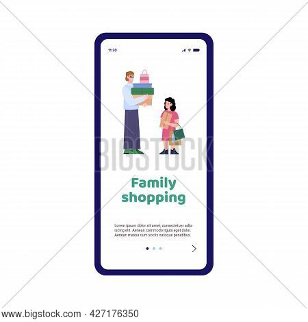 Mobile Phone App With Happy Family Of Shoppers On Shopping A Vector Illustration