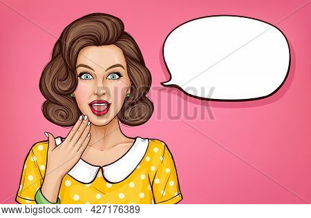Surprised Young Woman With Brown Curly Hair On Pink Background. Amazed Girl With Open Mouth. Vector