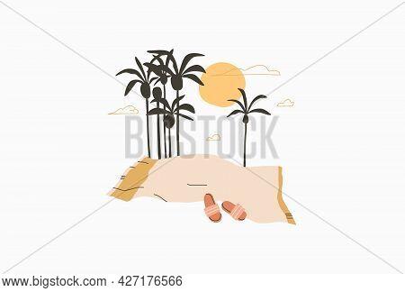 Hand Drawn Vector Abstract Stock Graphic Summer Time Cartoon, Minimalistic Line Art Illustrations Pr