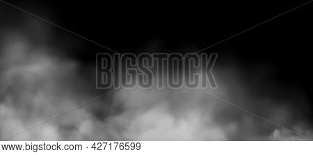 White Fog Or Smoke 3d Effect On Background. Cloud, Mist Cloudiness, Vapor Condensation, Stream Of Ga