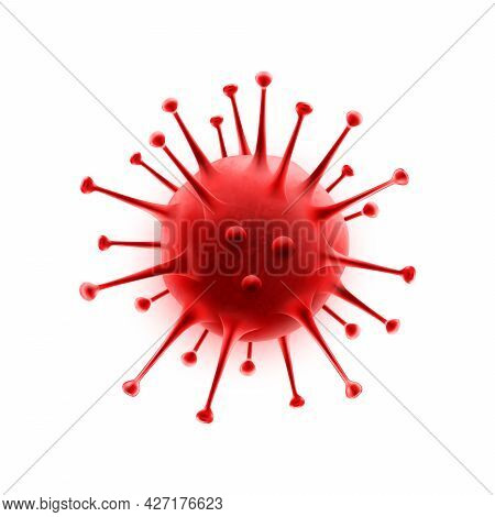 Coronavirus Bacteria Isolated Red Covid-2019 Cell Icon On White. 2019-ncov, No Infection And Stop Co