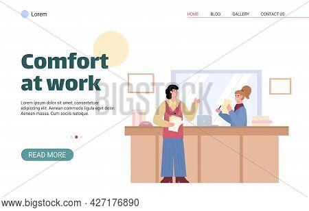 Good Male Boss Praise Subordinate Female Employee Working In Business Office.