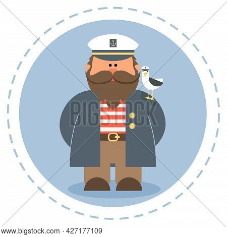 Cute Old Sailor With A Bird On His Shoulder.