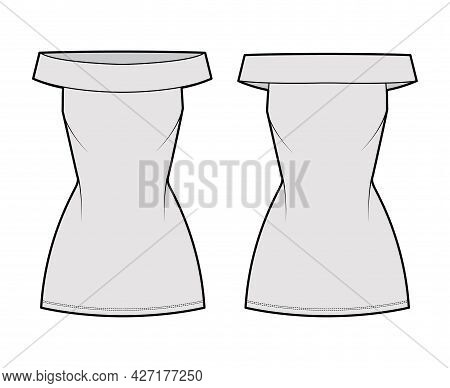 Dress Off-the-shoulder Bardot Technical Fashion Illustration With Sleeveless, Fitted Body, Mini Leng