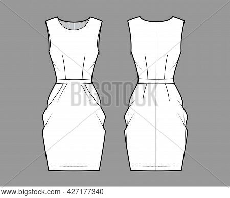 Dress Tulip Technical Fashion Illustration With Sleeveless, Fitted Body, Knee Length Peg-top Pencil