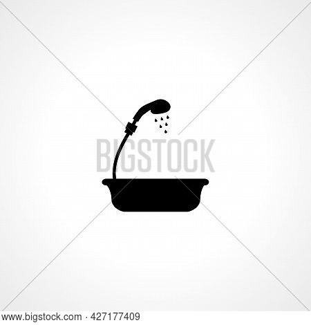 Bath With Shower Icon. Bath With Shower Isolated Simple Vector Icon.