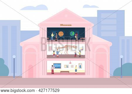 Inside Of Museum Building With Visitors And Exhibits, Flat Vector Illustration.