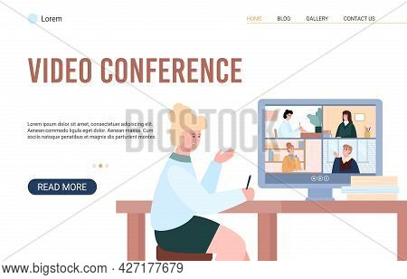 Businesswoman Or Student Participate In Online Video Conference Via Internet.