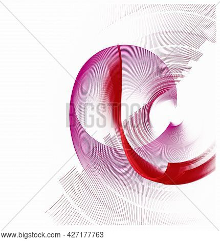 Vortical Abstract Fractal Background With Airy Magenta And Red, Beautifully Curved Elements. Graphic