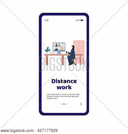 Mobile Onboarding Page On Topic Of Distance Work, Cartoon Vector Illustration.