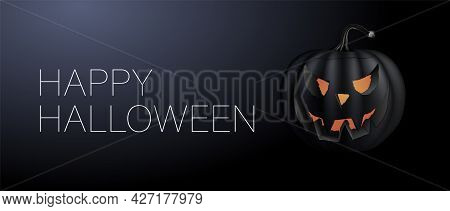 Vector Mystical Illustration. Happy Halloween Banner. Festive Background With Realistic 3d Black Pum