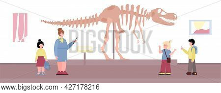 School Children On Excursion In Archeology Museum, Flat Vector Illustration.