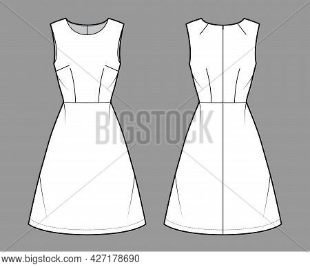 Dress A-line Technical Fashion Illustration With Sleeveless, Fitted Body, Natural Waistline, Knee Le