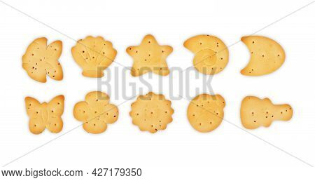 Salty Cracker Biscuit Isolated On White Background And Texture, Top View