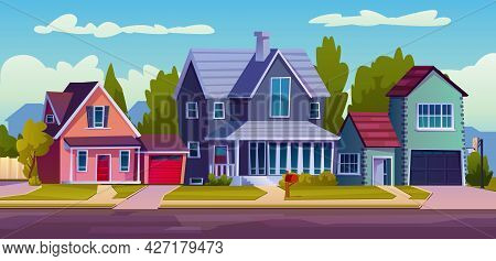 Urban Or Suburban Neighborhood, Background With Cartoon Homes With Garages, Green Trees And Driveway