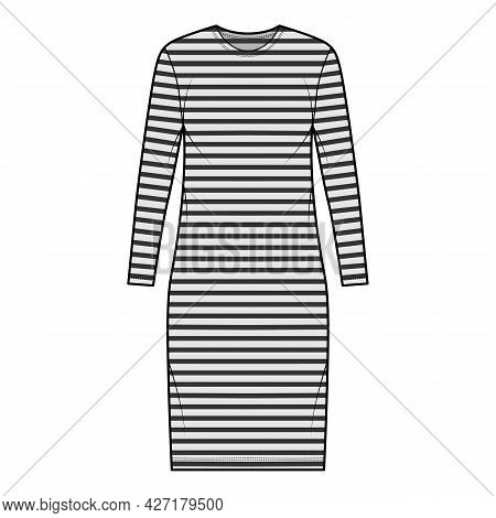 Dress Sailor Technical Fashion Illustration With Stripes, Long Sleeves, Oversized Body, Knee Length