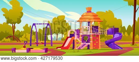 Children Playground At Yard Of Kindergarten. Garden With Swings And Slides For Kids, Sandbox With Sa
