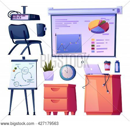 Contemporary School Or Office, University Or College Interior Design Isolated Elements. Furniture An
