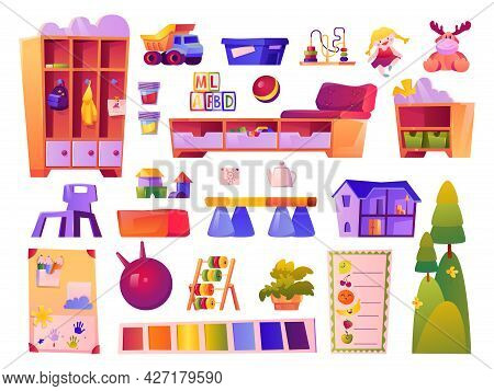 Toys And Furniture Of Kindergarten Classroom, Isolated Elements For Small Kids. Preschool Education