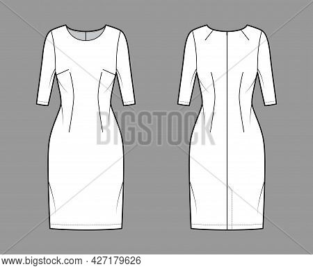 Dress Sheath Technical Fashion Illustration With Elbow Sleeves, Fitted Body, Knee Length Pencil Skir
