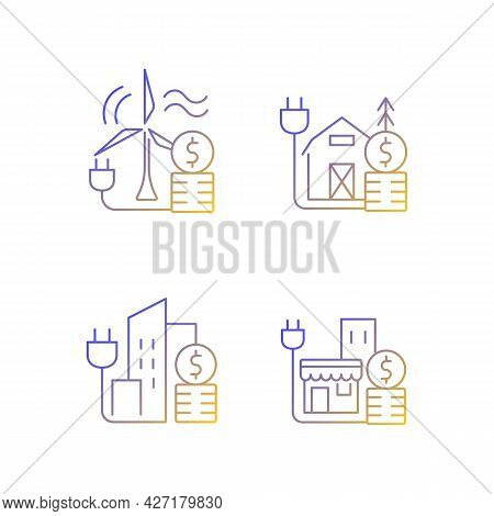 Electricity Gradient Linear Vector Icons Set. Wind Energy Financial Expense. Electricity Consumption