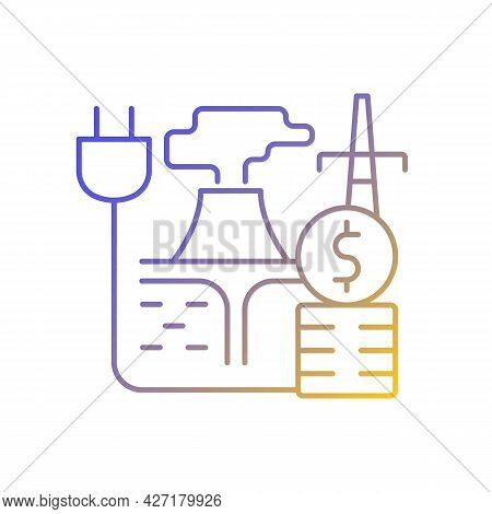 Geothermal Energy Price Gradient Linear Vector Icon. Sustainable Thermal Power Production. Price For