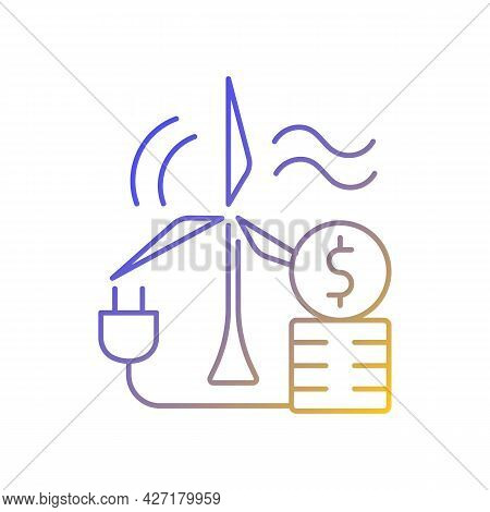 Wind Energy Price Gradient Linear Vector Icon. Windmill For Generating Alternative Renewable Power.