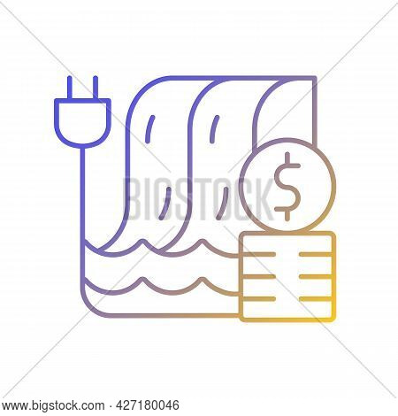 Hydropower Pricing Gradient Linear Vector Icon. Water Dam For Sustainable Production Of Electricity.