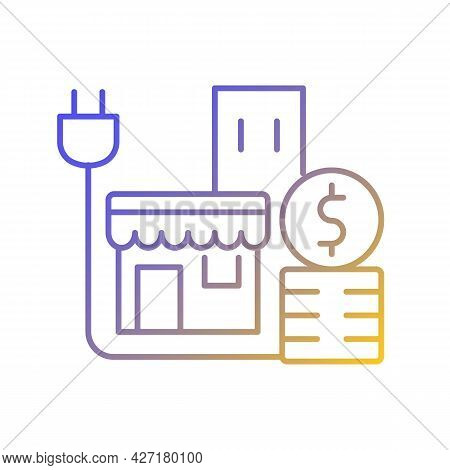 Energy Price For Commercial Customer Gradient Linear Vector Icon. Cost For Electrical Power For Shop