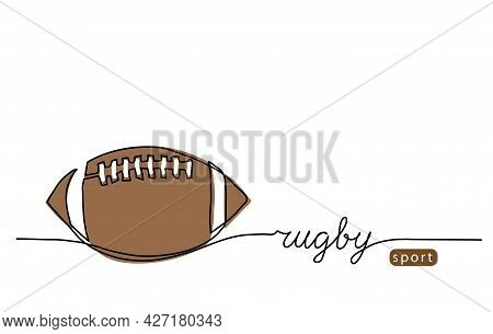 Rugby Ball, American Football Ball One Continuous Line Drawing. Minimalist Vector Web Banner, Poster
