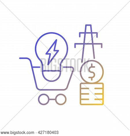 Electricity Demand Gradient Linear Vector Icon. Electrical Power Generation Cost. Utility Service. E