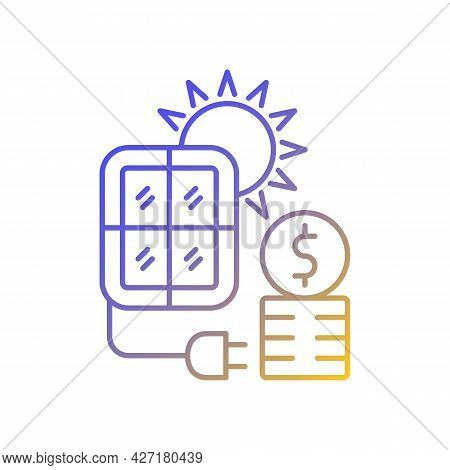 Solar Energy Price Gradient Linear Vector Icon. Pv Panels For Sun Power Generation. Energy Purchase.