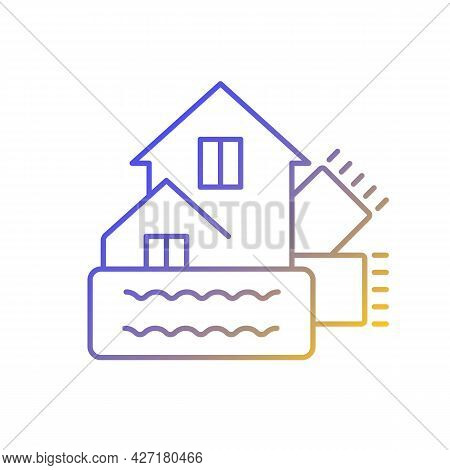 Weatherization Gradient Linear Vector Icon. Weatherproofing Building. Efficient Insulation For Home.