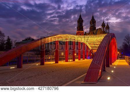 The Bishop Jordan Bridge Over Cybina River And Poznan Cathedral At Gorgeous Sunset, Poznan, Poland.