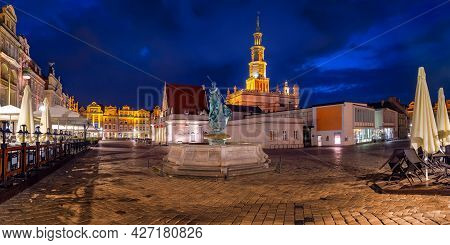 Panorama Of Poznan Town Hall On Old Market Square In Old Town At Night, Poznan, Poland