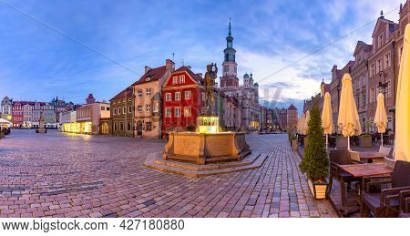 Morning Panorama Of Poznan Town Hall On Old Market Square In Old Town, Poznan, Poland