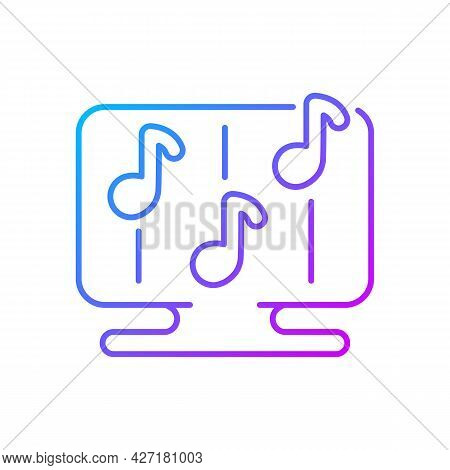 Rhythm Games Gradient Linear Vector Icon. Special Game Of Music Theamed Genre. Fun Time. Thin Line C