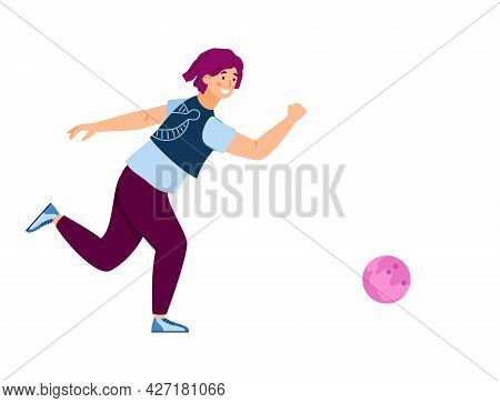 Woman Bowling Player Throwing A Ball, Flat Vector Illustration Isolated.
