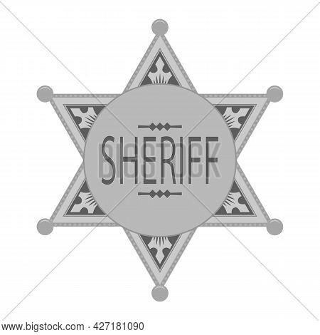 Grey Sheriff Star Icon Isolated On White Background