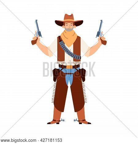 Wild West Man Bandit Cowboy In Hat And Mask Hold Weapon Handguns.
