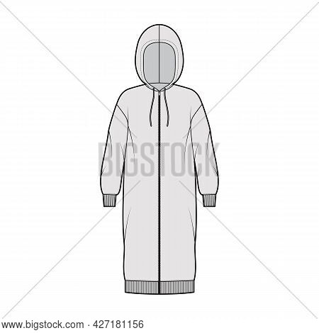 Dress Zip-up Hoody Technical Fashion Illustration With Long Sleeves, Rib Cuff Oversized Body, Knee L