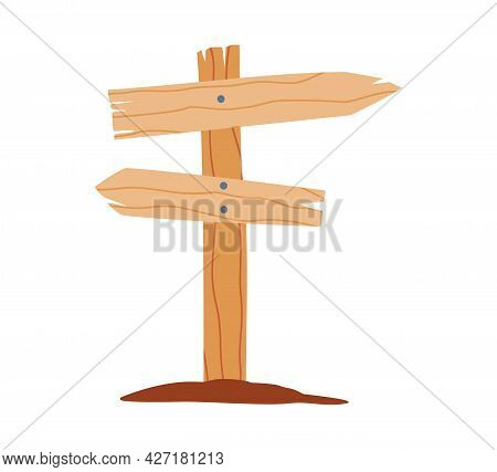Road Signpost With Banners Showing Direction, Flat Vector Illustration Isolated.