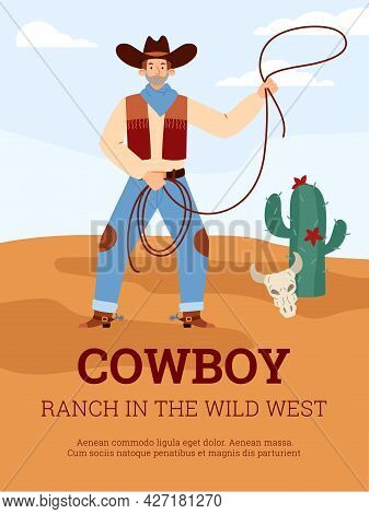 Poster Template With Cowboy Throwing Lasso Noose, Flat Vector Illustration.