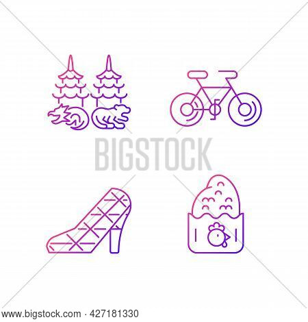 Asian Gradient Linear Vector Icons Set. Taiwanese Recreational Customs. Dragon Tiger Pagodas. Chicke
