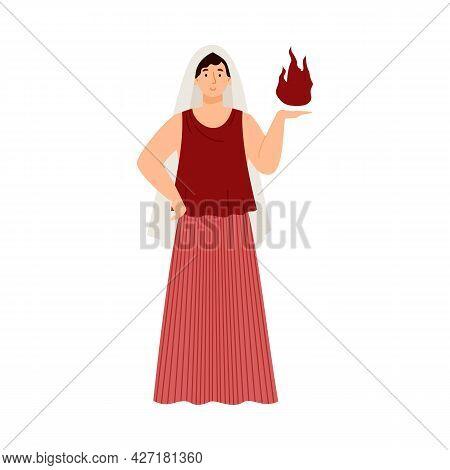 Hestia Greek Goddess Or Vesta In Roman Mythology, Vector Illustration Isolated.
